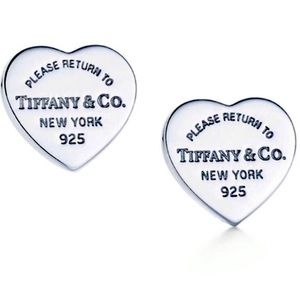 New Tiffany Heart Tag Earrings Authentic